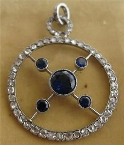 Spectacular rose diamonds and sapphires one off art deco pendant 18ct white gold